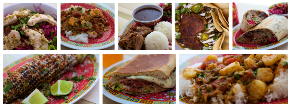 images of various entrees, sandwiches and appetizers served at bien