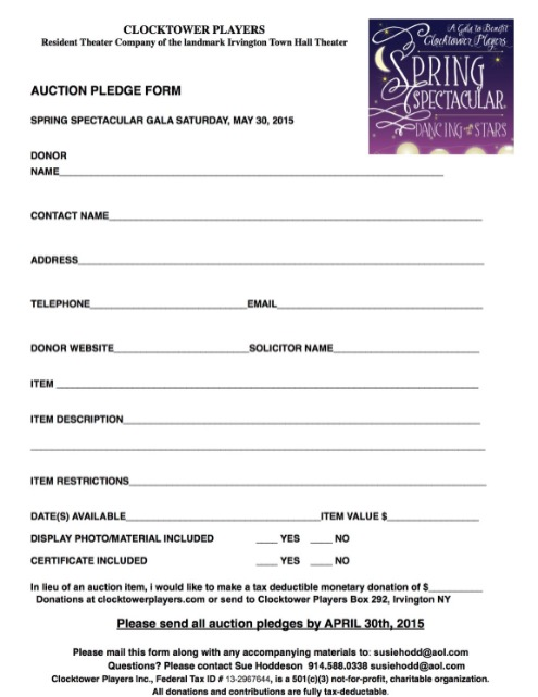 Clocktower Players - Auction Pledge Form