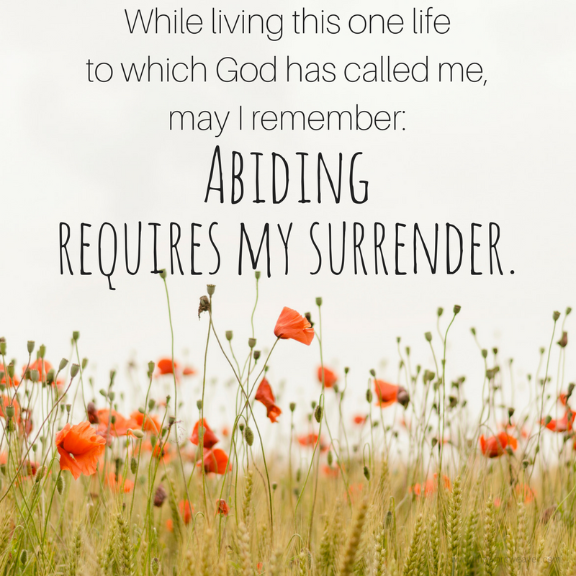 Abiding requires my surrender/blog post www.thewordweaver.com