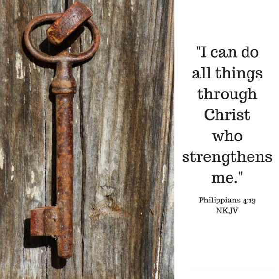 Scripture from Philippians 4:13 / I can do all things through Christ who strengthens me. / Included in The Word Weaver blog prayer post about strength