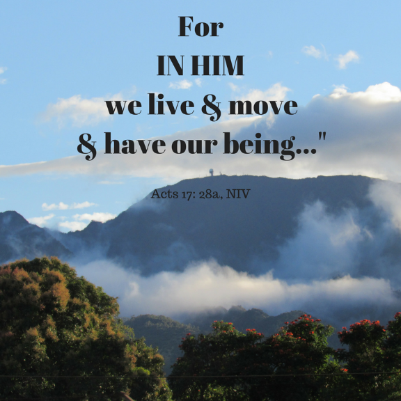 Scripture quote/ In Him we live & move & have our being/ quoted in The Word Weaver blog post