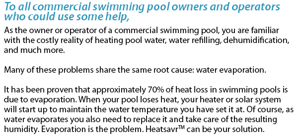 To all commercial swimming pool owners and operators who could use some help