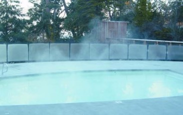Before Heatsavr liquid pool cover - Brentwood Bay swimming pool steams and loses heat and water through evaporation