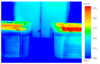Thermographic rendering of 2 spas one with Heatsavr the liquid pool cover and one without