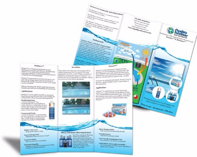 Liquid Pool Cover trifold brochure outside