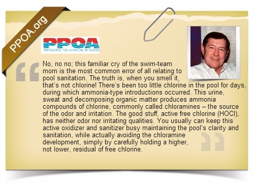 Quote from Professional pool operators of america on chloramines and free chlorine