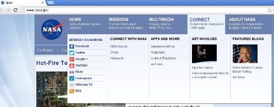 Screenshot of Nasa.gov social media links
