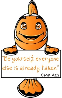 Ecosavr solar fish holding sign saying be yourself; everyone else is already taken ~ oscar wilde