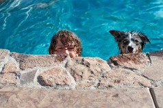 dog and boy in pool