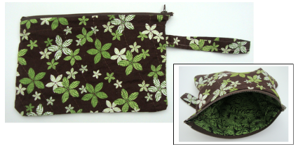wristlet green & brown floral