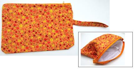 wristlet orange floral