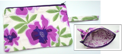 wristlet purple and wht floral