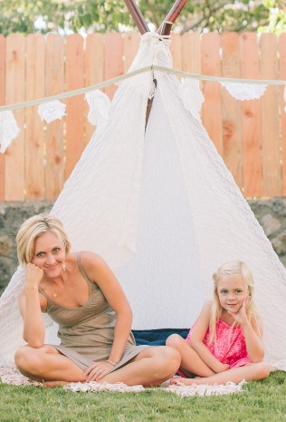 Ivy & Co with Hawaii made teepee in backyard