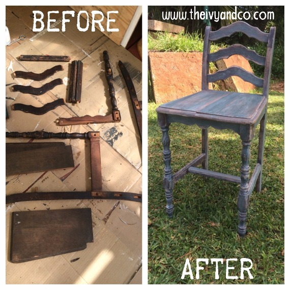Before and after of Hawaii chair remodel