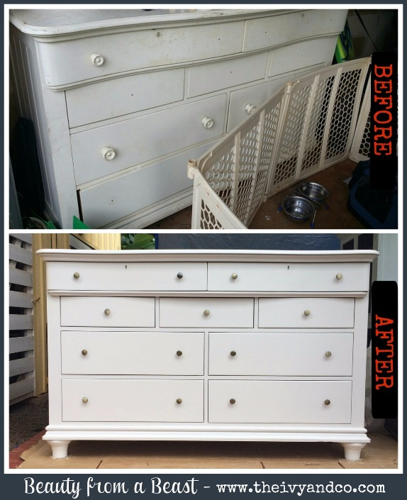 Before and after of an Ivy & Co. remodeled dresser