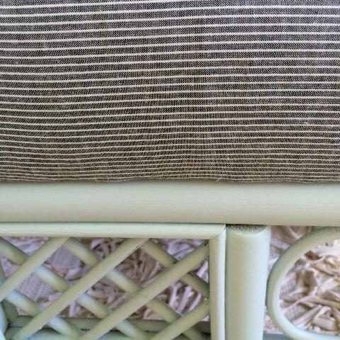 mint pinstripe wicker bench makeover