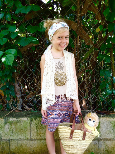 kid headband boho chic style made in hawaii with aloha straw bag