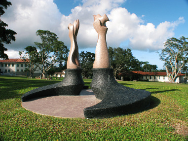 Sculpture on the great lawn at Windward Community College campus.