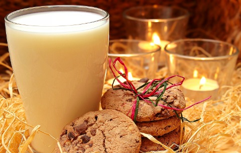milk cookies and candles