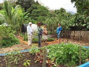 men and women in garden
