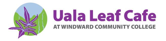 Uala Leaf Cafe logo has blue sky and water falls, green Koolau mountain and two purple leaves.