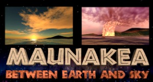 Two images of Mauna kea volcano errupting.