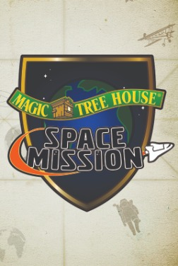Shield with the words magic tree hosue and small image of a small wooden houseand space mission with a small white space shuttle