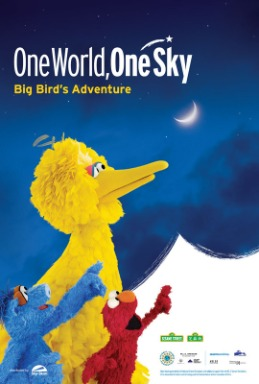 Big Bird, Elmo and HuHu Zhu looking at the crescent moon in the blue sky.