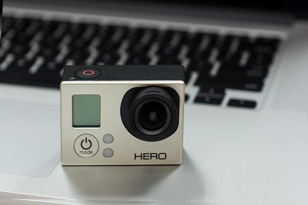 Hero 3 GoPro camera on a laptop keyboard
