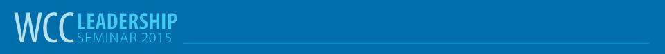 WCC Leadership Seminar 2015. Light blue text on a dark blue background.