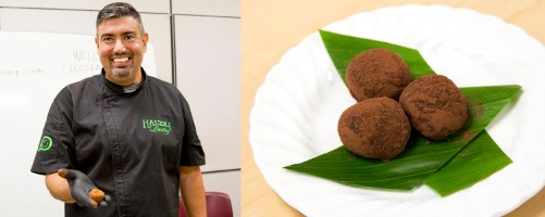 man holding truffle, plate of truffles