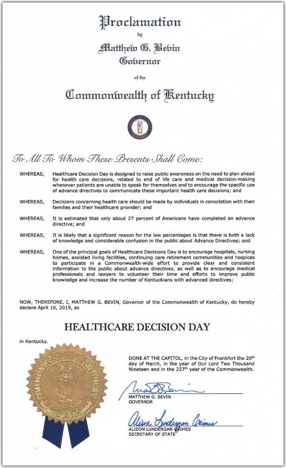 Healthcare Decision Day Proclamation
