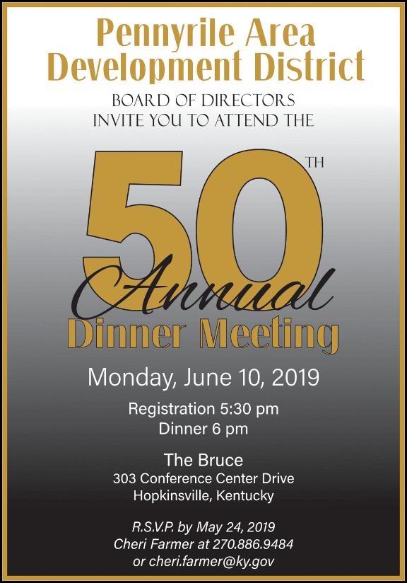 Pennyrile Area Development District 50th Annual Dinner Meeting Invitation