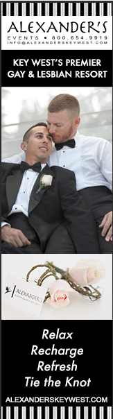 banner ad promoting events at alexanders guesthouse. male couple embracing. key west