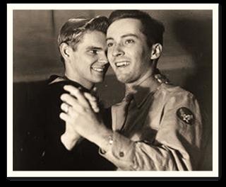 vintage photoraph of two men dancing