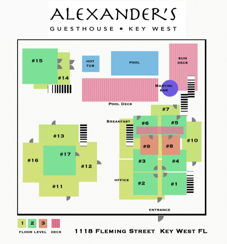 site map of property at alexanders guesthouse that details each building and where the rooms are located