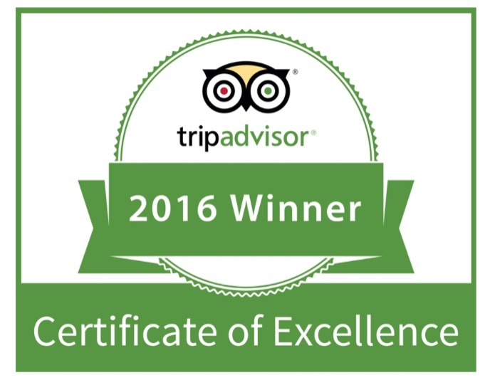 2016 tripadvisor winner certificate of excellence