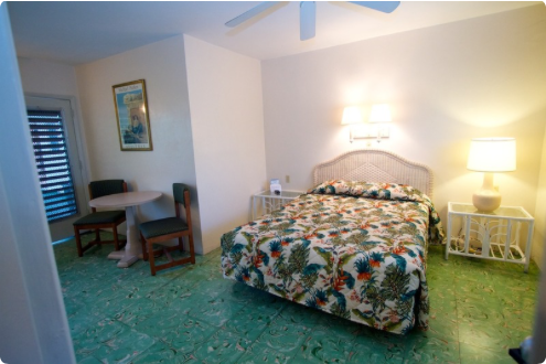 Available Standard Queen rooms include refrigerator and private bath. Our rooms also feature original Cuban tile floors and jalousie windows. Make your reservation today 305-296-6531