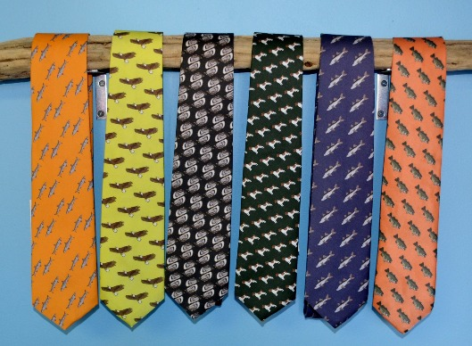 Coastal neckties for men, fish neckties, oyster shells, snook, bass, shark, eagle, southern, preppy