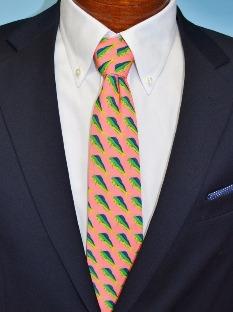 fish tie, preppy tie, mahi mahi, mens necktie