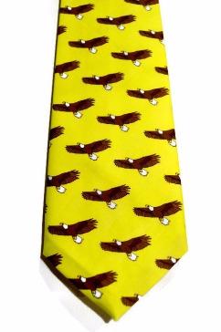 eagle necktie, mens yellow tie