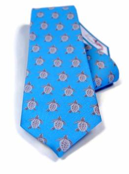 turtle mens necktie, blue tie