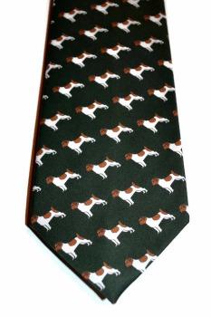 jack russell neck tie, mens dark green tie