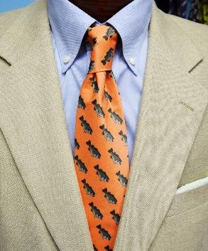 bass fish mens necktie, orange necktie, handmade necktie, fish tie