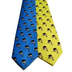 fish necktie, blue tie, yellow tie, sailfish