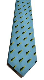 fish tie, mens necktie, aqua tie, mahi mahi