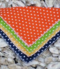 Polka dot pocket squares, orange, lime, yellow, navy