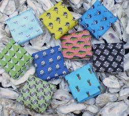 Critter pocket squares, fish pocket squares, oyster shells, sailfish, mahi mahi, pineapple, barry beaux
