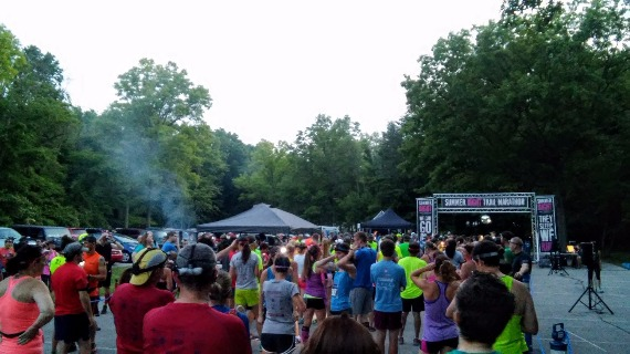 Starting Line of 2015 Summer Night Trail Marathon at Eagle Creek Park in Indianapolis