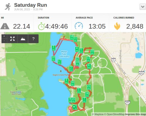 2015 Summer Night Trail Marathon - RunKeeper Screenshot